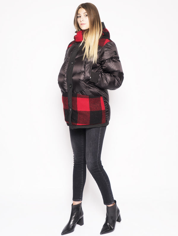 WOOLRICH-Parka Reversibile con Intarsi in Lana Nero-TRYME Shop