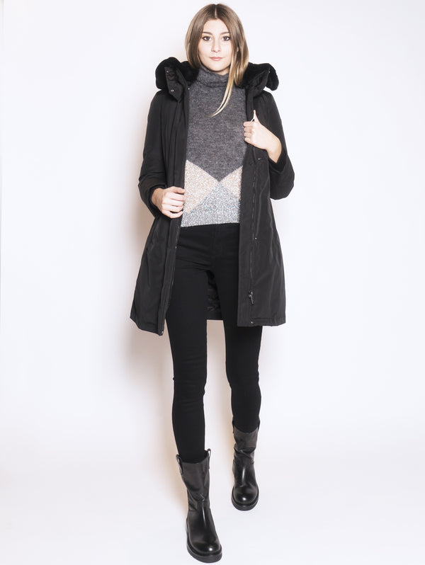 WOOLRICH-Cappotto imbottito in ramar Nero-TRYME Shop