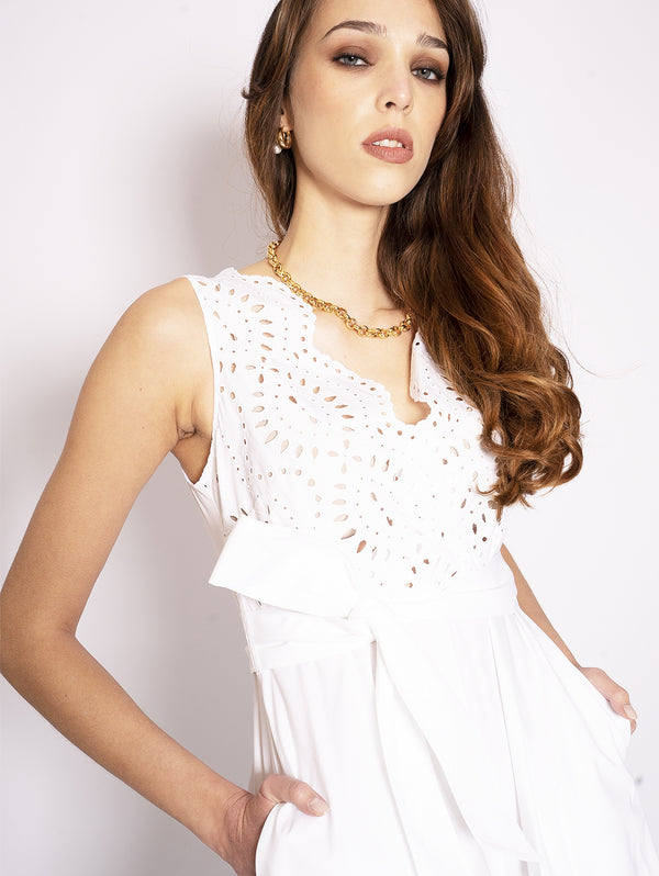 Sleeveless Dress in White English Stitch