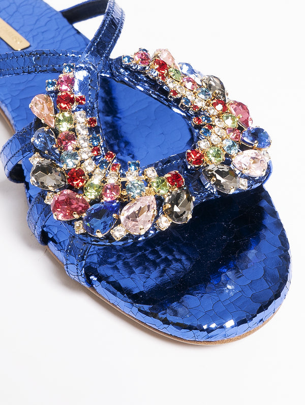 Sandals with Blue Jewel Heart