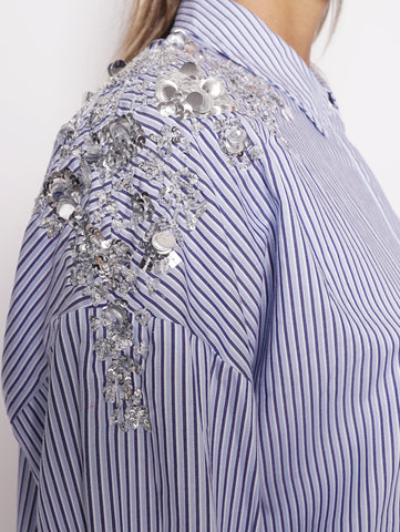 ESSENTIEL Camicia con paillettes - Retals Embo Oversized Shirt Bianco / Blu Trymeshop.it