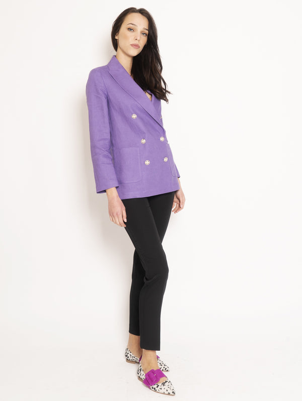 Double Breasted Jacket in Purple Linen