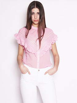 ESSENTIEL-Top con Ruches e Pizzo Rosa-TRYME Shop