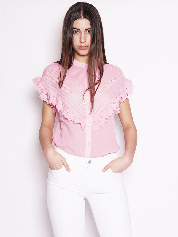 Top con ruches e pizzo - Sloeber Rosa-Top-ESSENTIEL-TRYME Shop