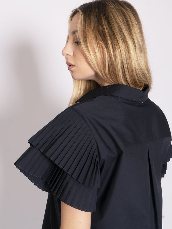 Shirt with Blue Pleated Sleeves