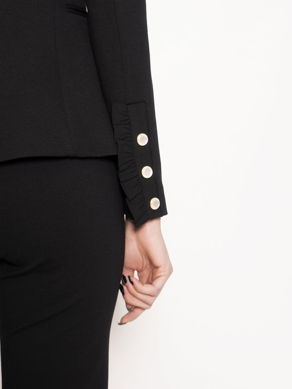 Black Ruffle Cuff Jacket