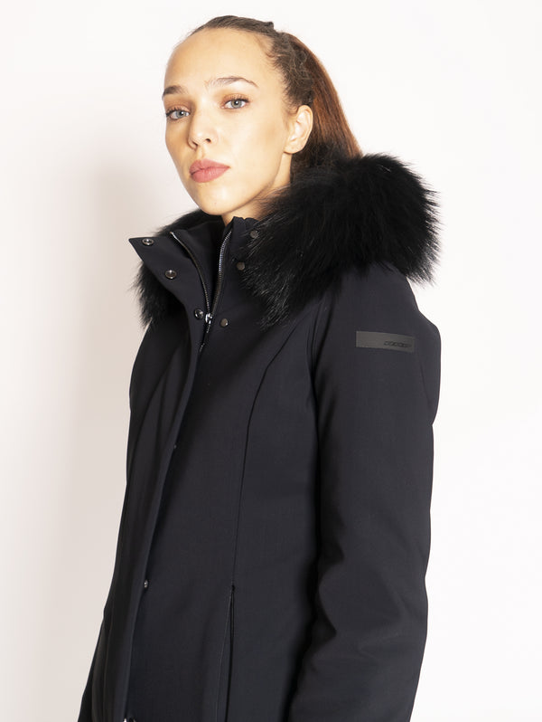Hooded parka with fur - Black