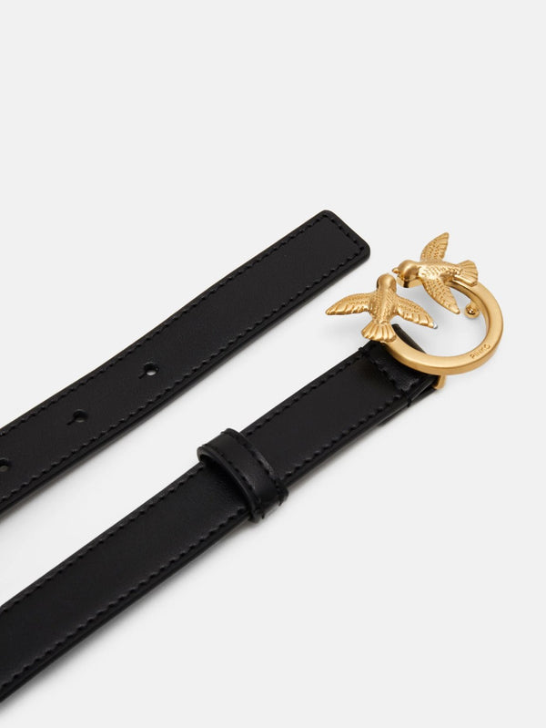 Leather Belt with Gold Black / Gold Buckle