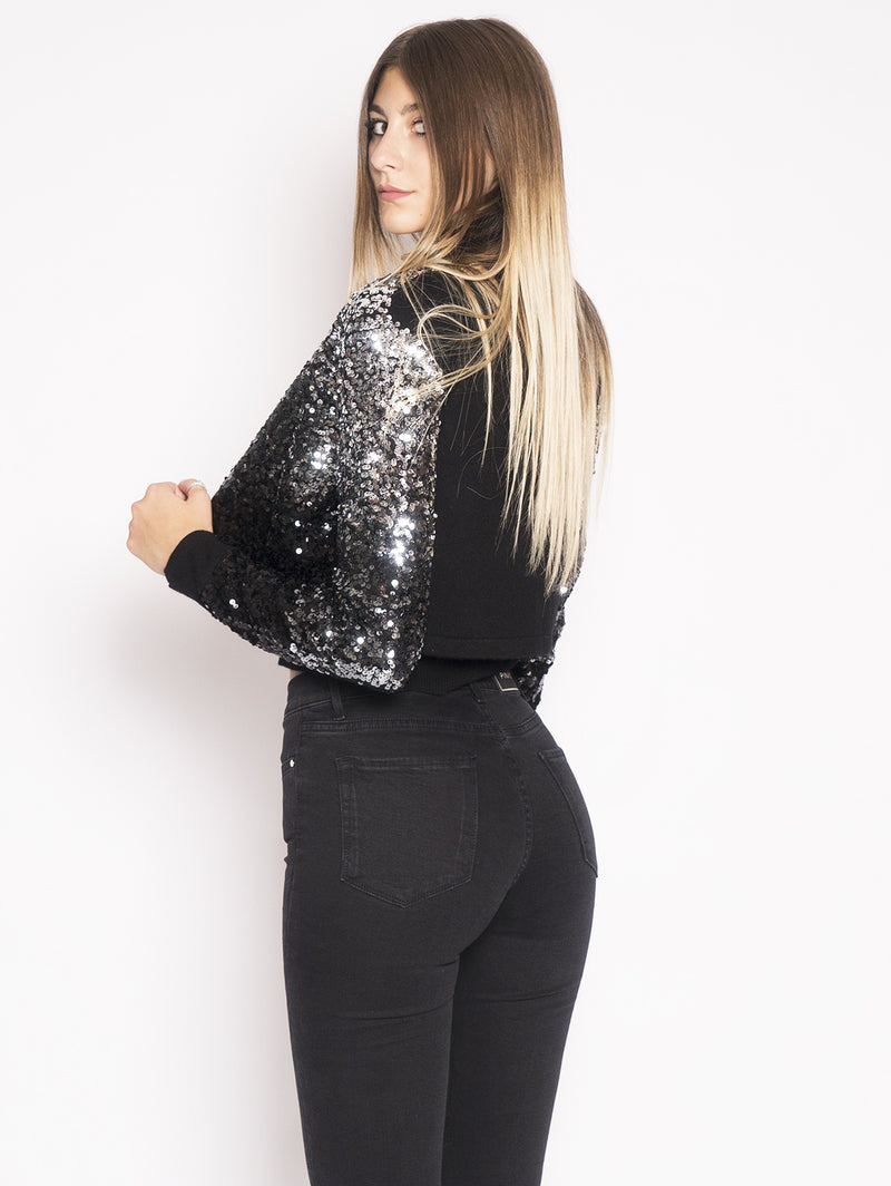 ALBANESE - Cardigan Full Paillettes Nero