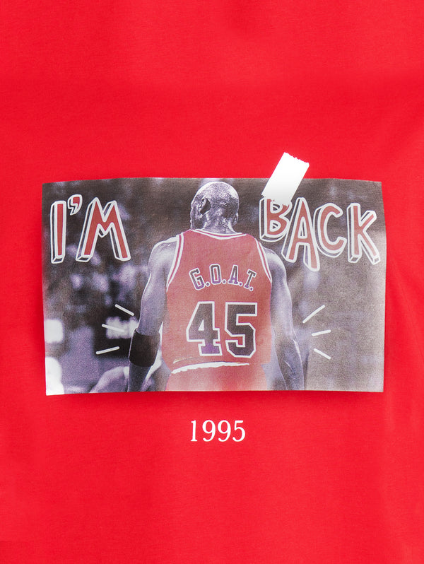 T-Shirt con Stampa G.O.A.T. Rosso