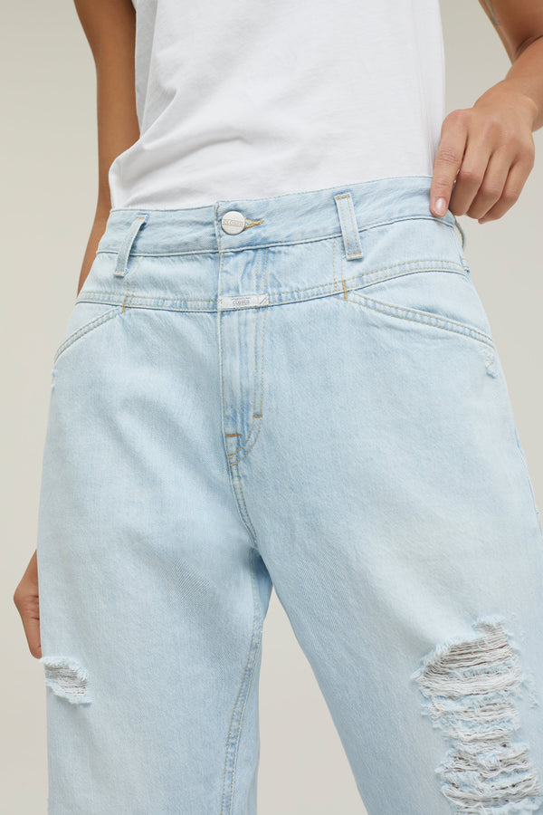 Jeans Relaxed Fit con Strappi Light Blue