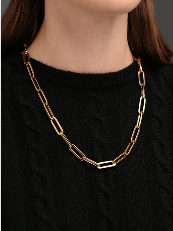 Lace Square Necklace Gold