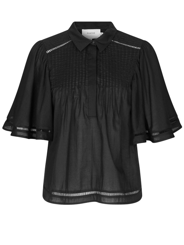 MUNTHE-Top Camicia all'uncinetto Black-TRYME Shop