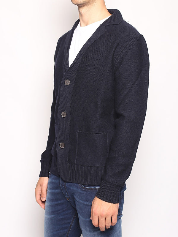 Giacca in maglia 3 bottoni - AU2104E DARK BLUE-Cardigan-Alpha Studio-TRYME Shop