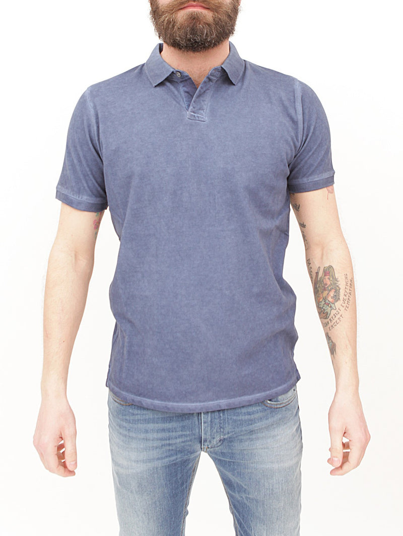 ALPHA STUDIO-Polo in Cotone Piquet Navy-TRYME Shop