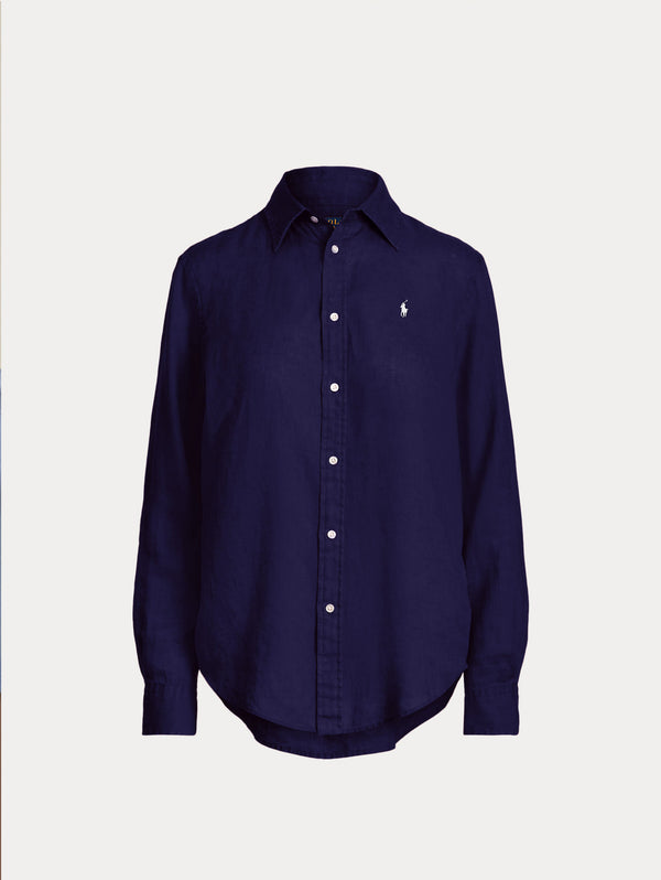 RALPH LAUREN-Camicia in Lino Navy-TRYME Shop