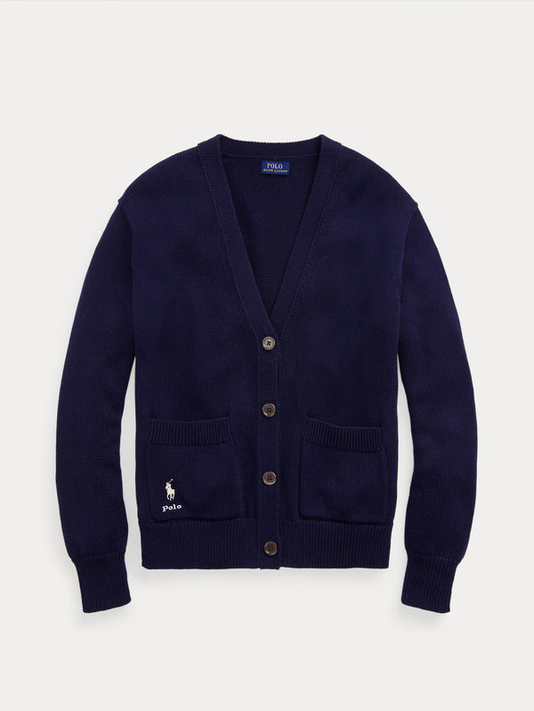 RALPH LAUREN-Cardigan Scollo a V Hunter Navy-TRYME Shop