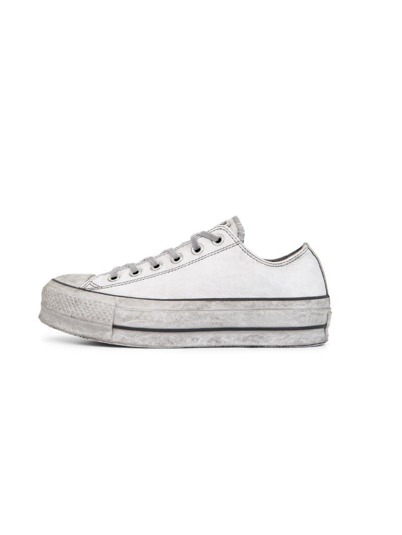 CONVERSE-Chuck Taylor All Star Platform Low in Pelle - Bianco-TRYME Shop