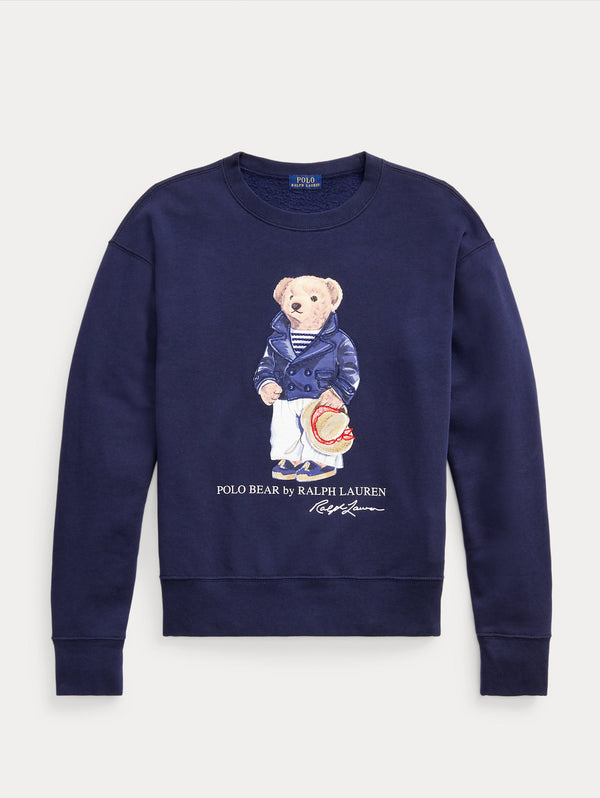 RALPH LAUREN-Felpa Girocollo con Polo Bear Cruise Navy-TRYME Shop