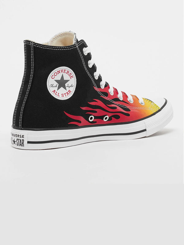 Chuck Taylor Sneakers with Black Flames