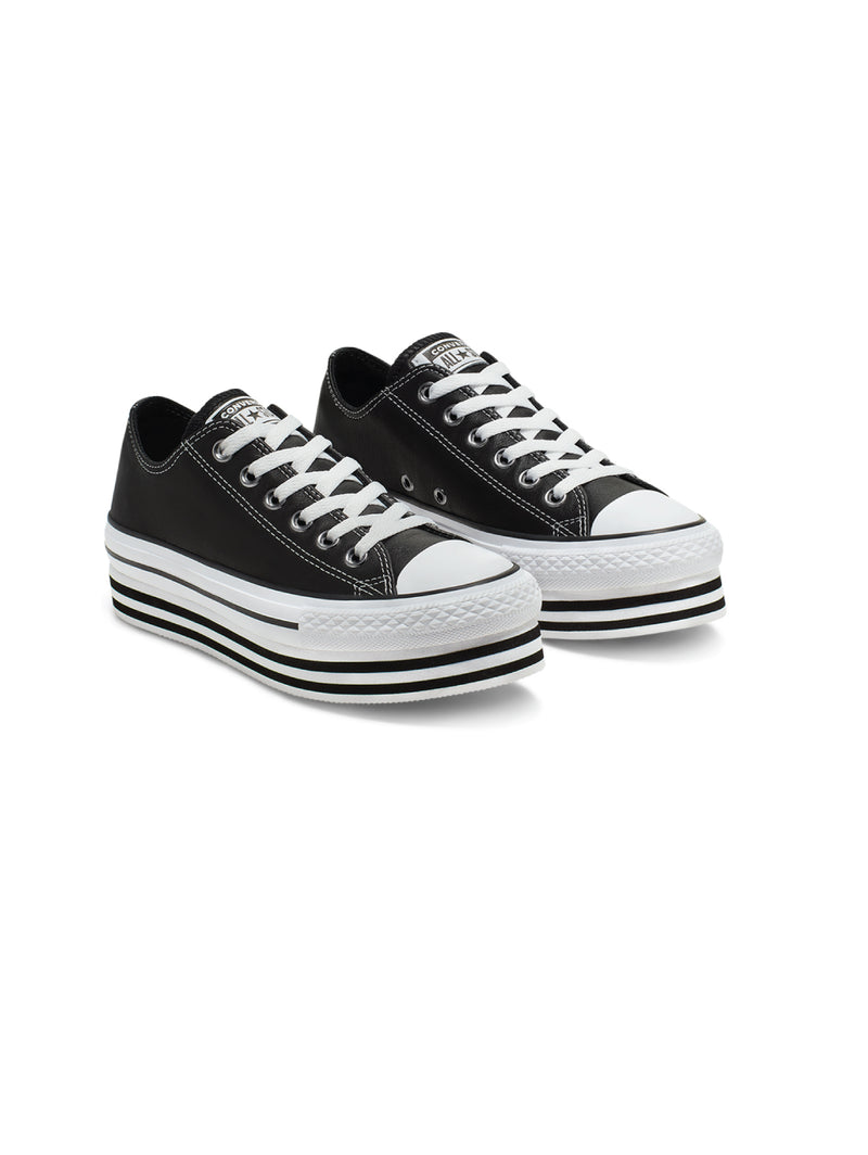 Chuck Taylor All Star Platform Low in Pelle - Nero