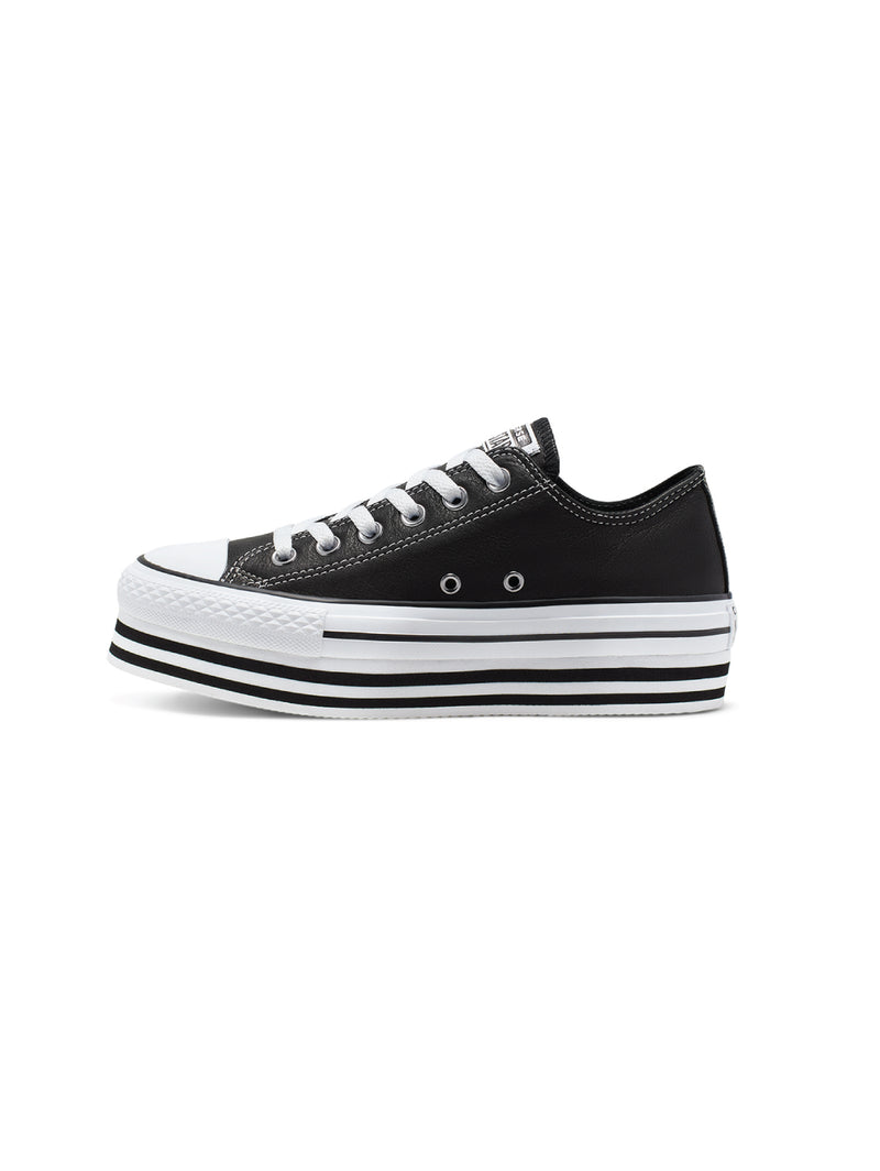 CONVERSE-Chuck Taylor All Star Platform Low in Pelle - Nero-TRYME Shop