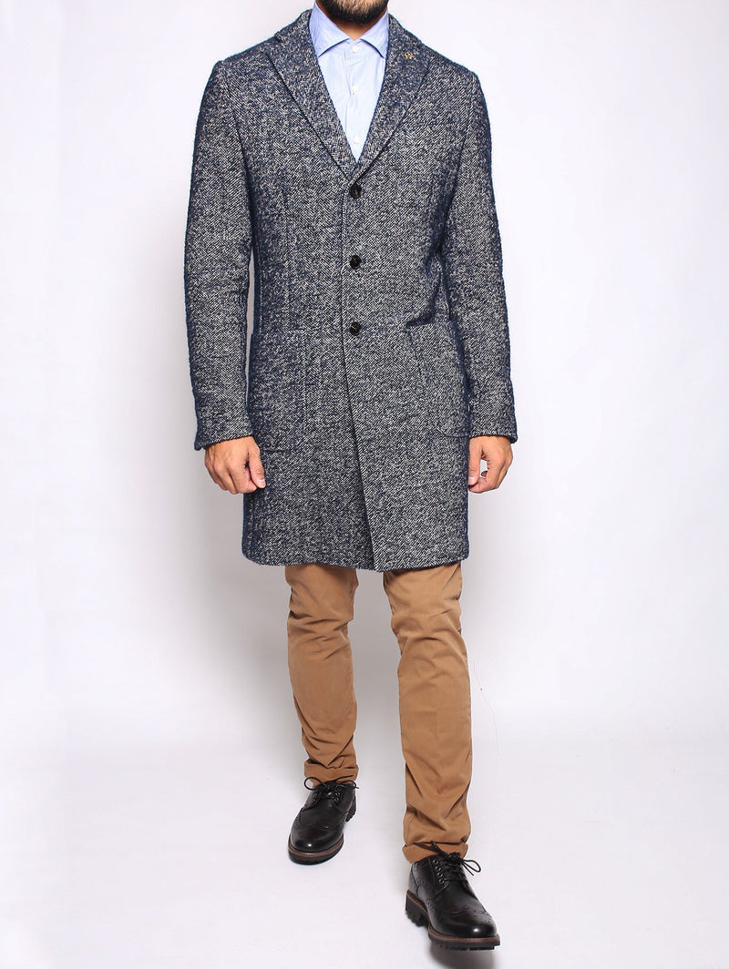 PAOLONI - Cappotto in tweed NAVY-Cappotto-Paoloni-TRYME Shop