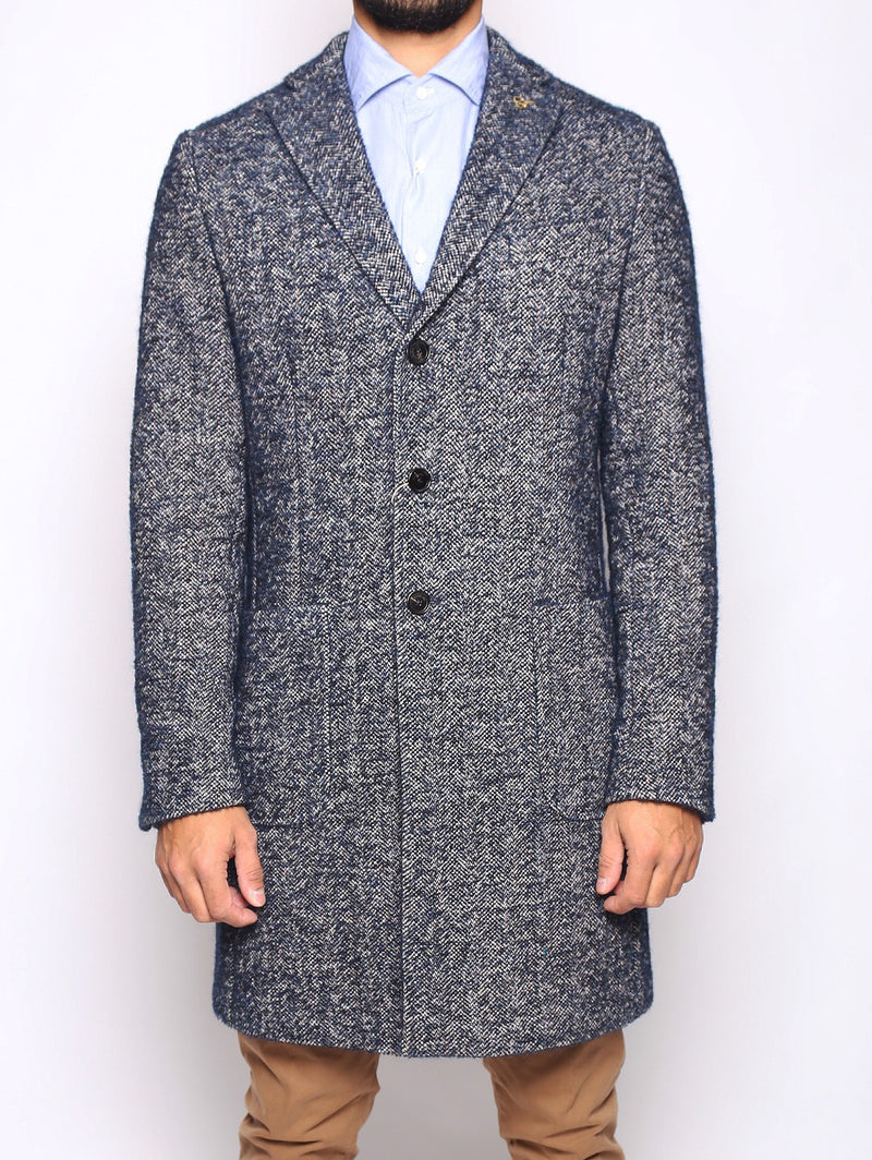 PAOLONI-Cappotto in Tweed Navy-TRYME Shop