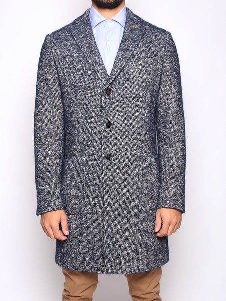 Paoloni PAOLONI - Cappotto in tweed NAVY Cappotto - TRYMEShop