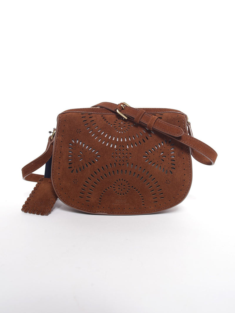 RALPH LAUREN-Borsa in Pelle Laserata MARRONE-TRYME Shop