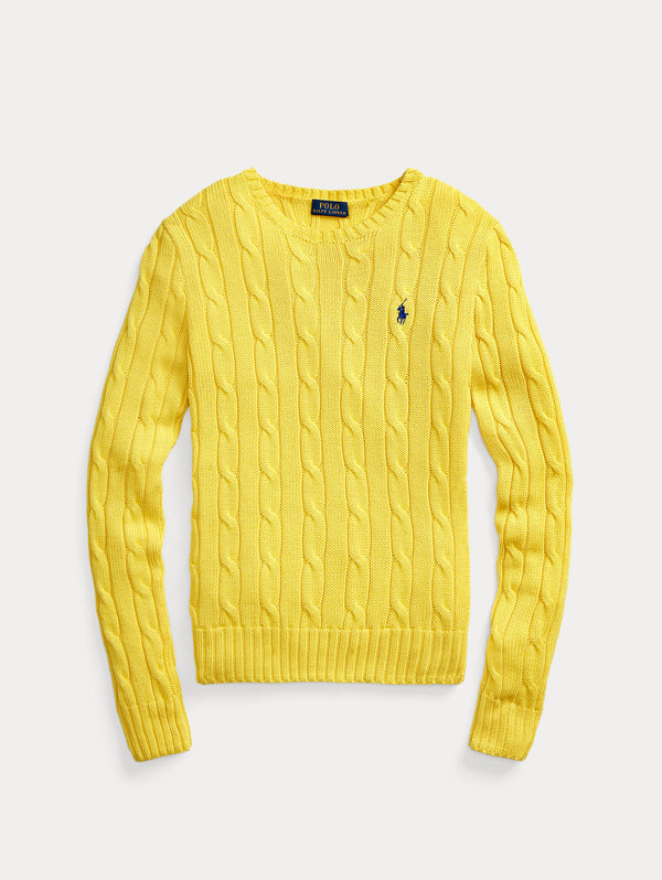 RALPH LAUREN-Maglia a Trecce Elite Yellow-TRYME Shop