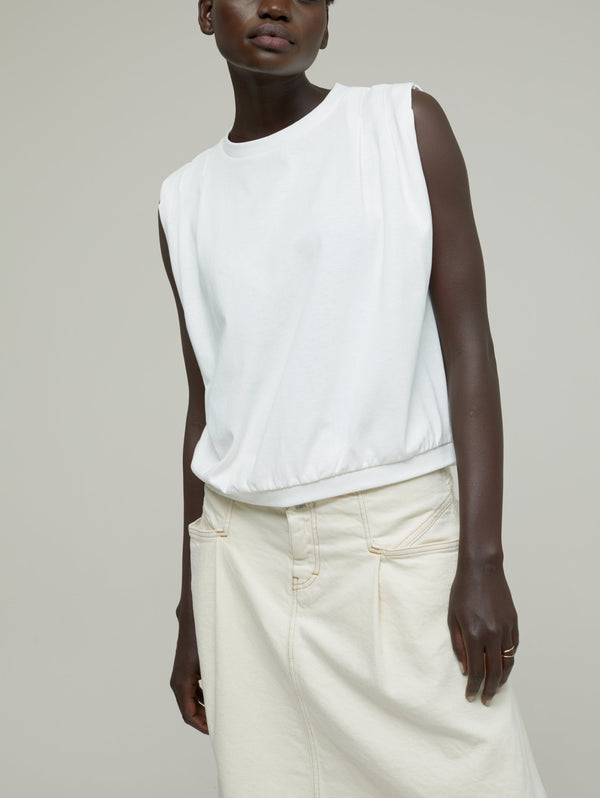 CLOSED-Top Girocollo con Pinces Bianco-TRYME Shop