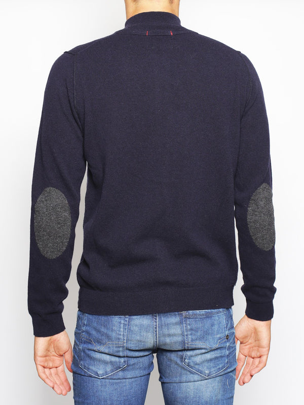 WOOLRICH - CONTRAST WOOL TRACK JACKET NAVY-Maglieria-Woolrich-TRYME Shop