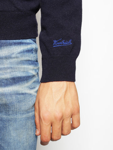 Woolrich WOOLRICH - CONTRAST WOOL TRACK JACKET NAVY Trymeshop.it