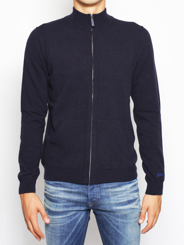 WOOLRICH-Cardigan con Toppe Blu-TRYME Shop