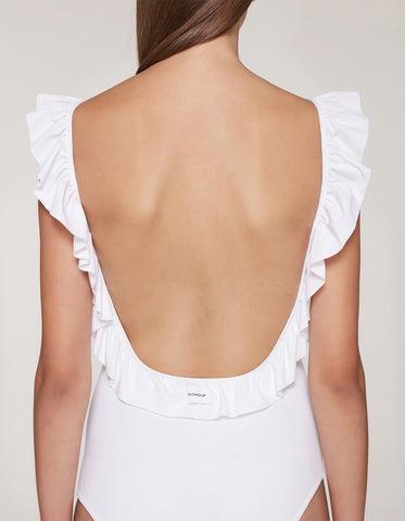 dondup Costume intero con ruches Bianco Trymeshop.it
