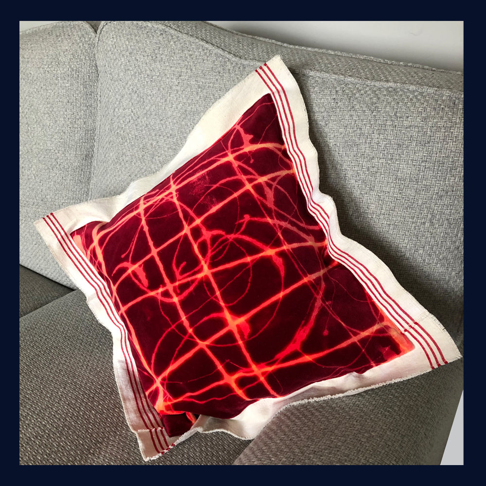 "Raw Luxe Collection: Luxury Vintage Velvet & Antique Metis Cushion 16""/41cm (4)"