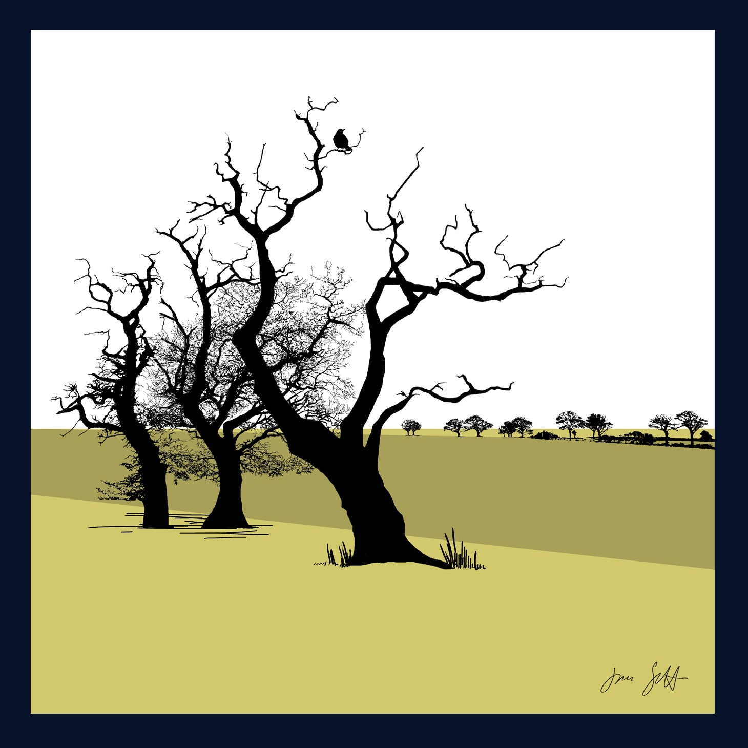 FRAMED Three Oaks, Saxthorpe, Norfolk. Arboretum Colour Block Fine Art Print - 9 colours available