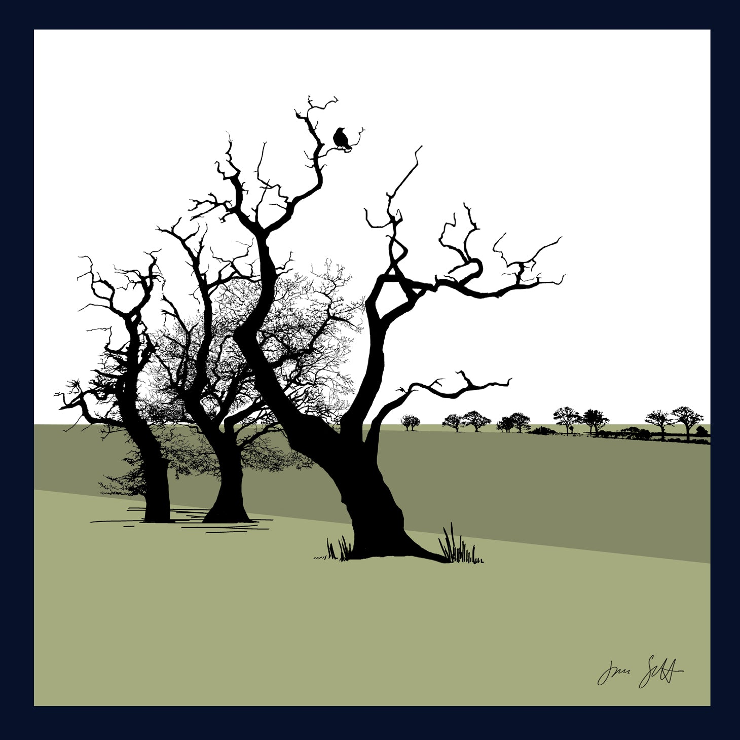 Three Oaks, Saxthorpe, Norfolk. Arboretum Colour Block Fine Art Print - 9 colours available