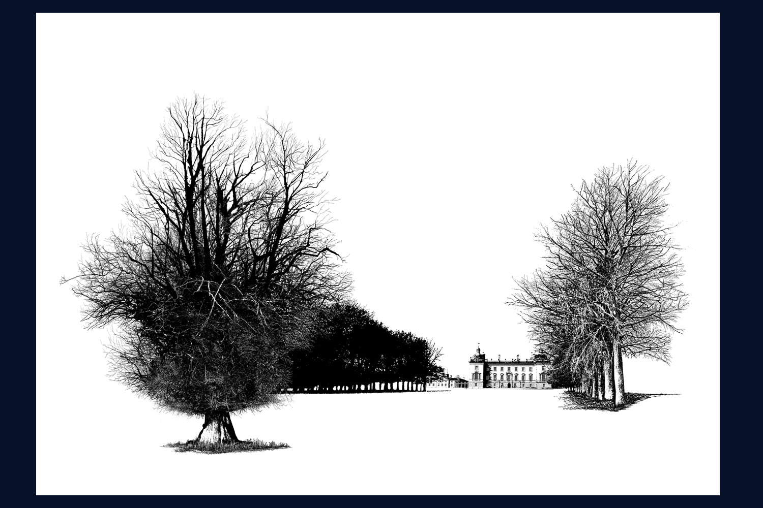 FRAMED Houghton Hall: West Perspective, Norfolk Limited Edition of 50 Fine Art Print