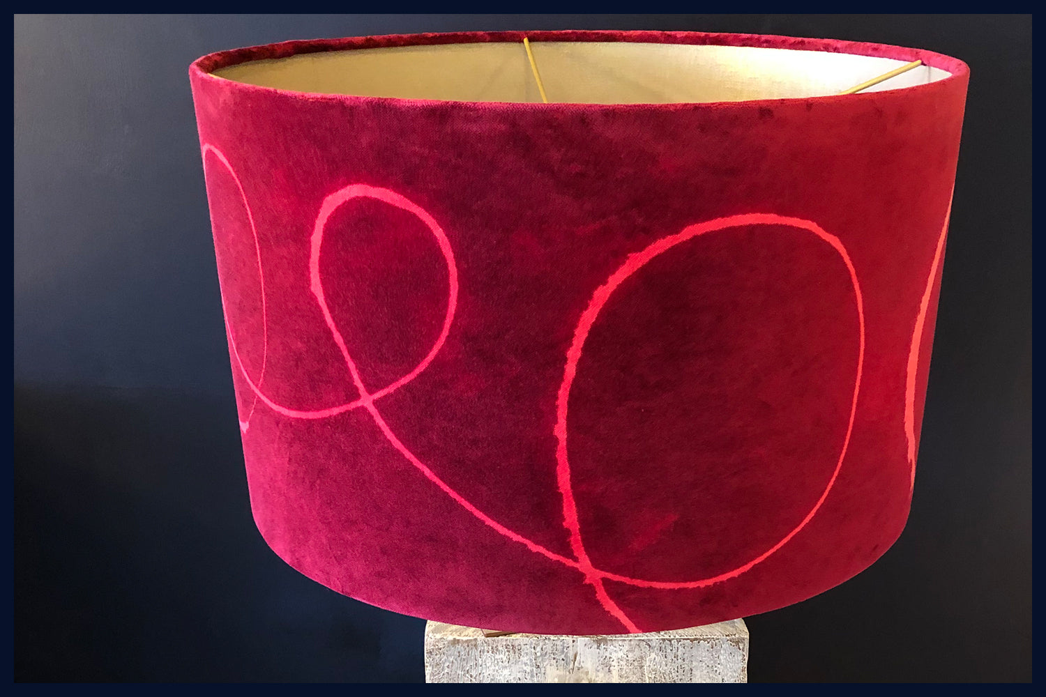 Raw Luxe Collection: Luxury Vintage Velvet 50cm x 30cm Handmade Drum Shade with Gold Lining(1)