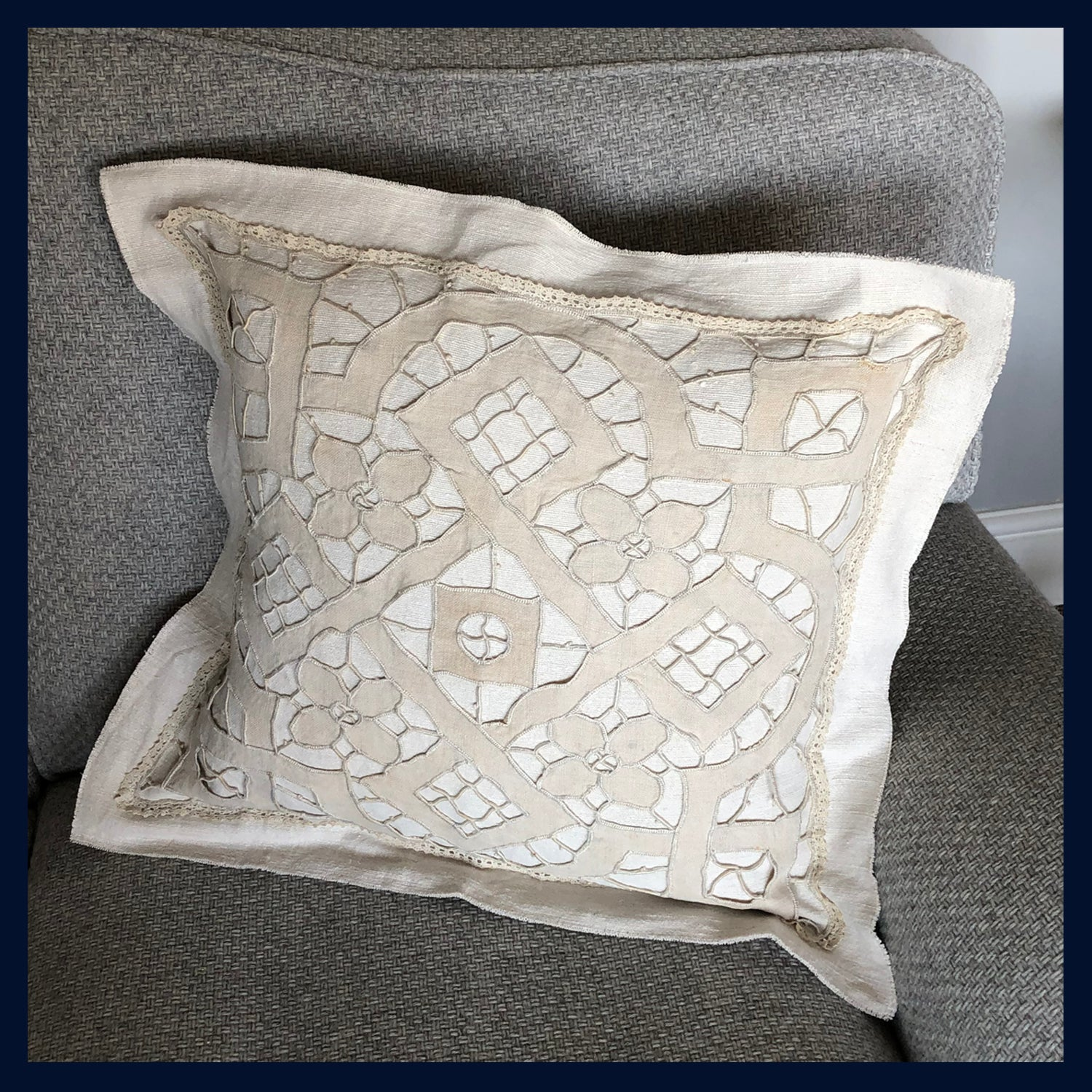 "Raw Luxe Collection: Luxury Antique French Richelieu Embroidered Cushion 20""/51cm (2)"