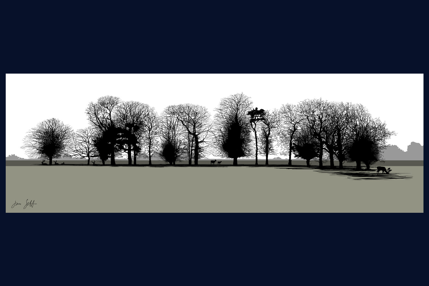 View from Gunton Arms, Norfolk. Arboretum Colour Block Collection Fine Art Print - available in 9 colours