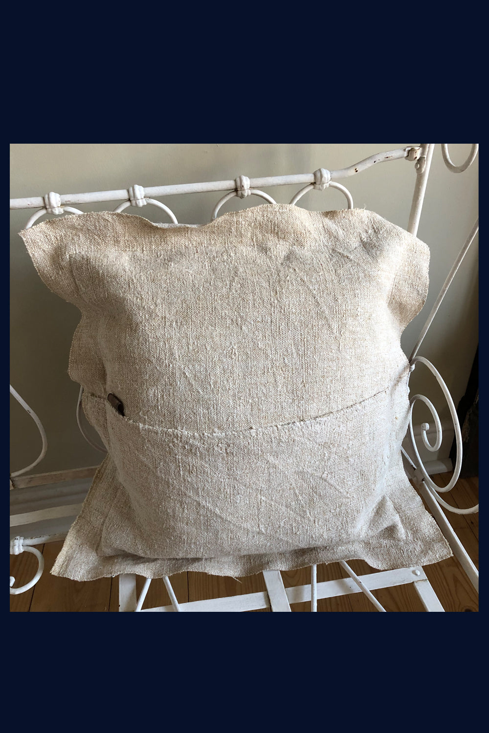"Raw Luxe Collection: Luxury Vintage Velvet & Handwoven Antique French Linen Cushion 20""/51cm (2)"