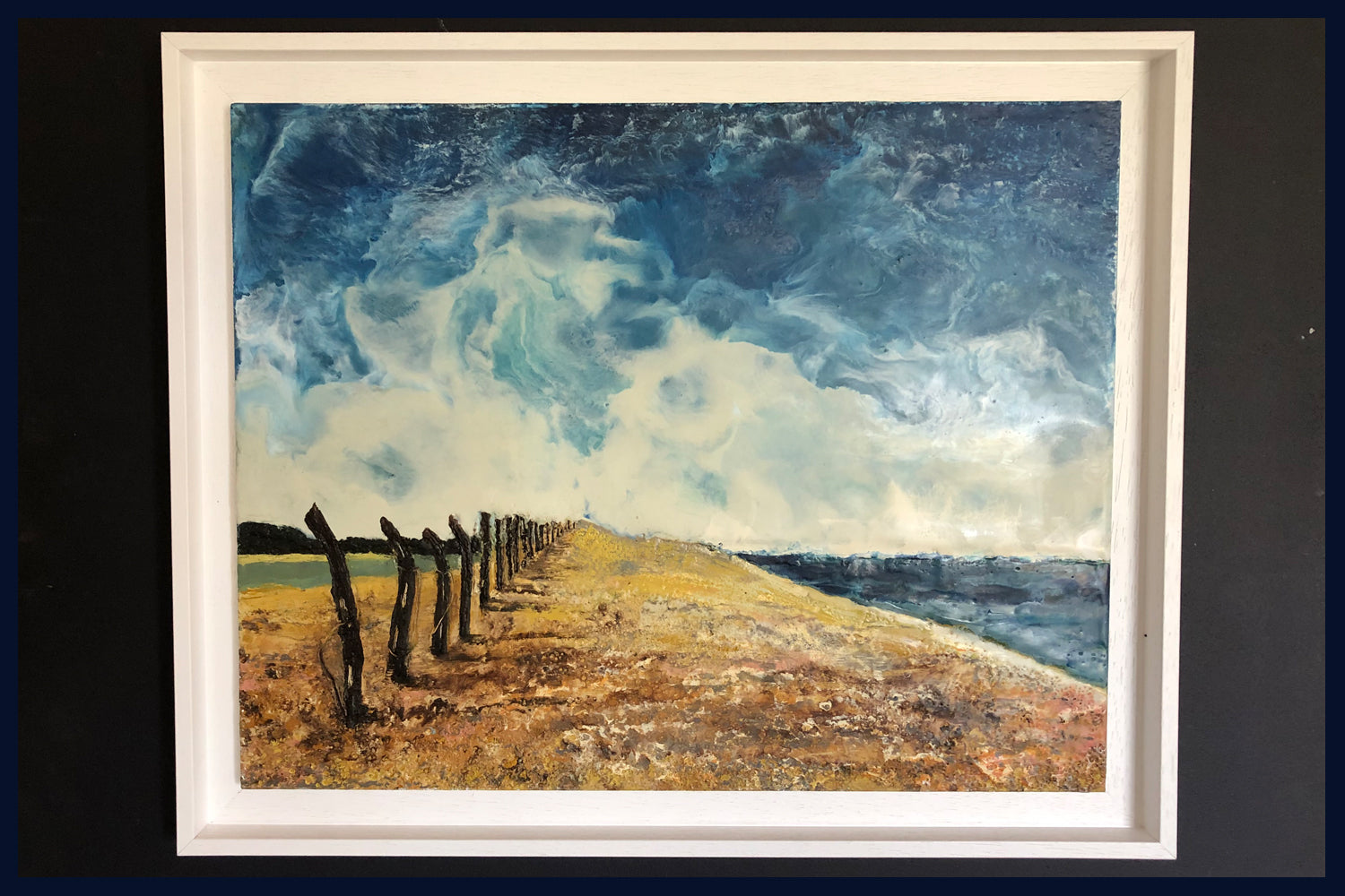 Linear Lands Collection: Beach, Salthouse, Norfolk. Original Oil Painting