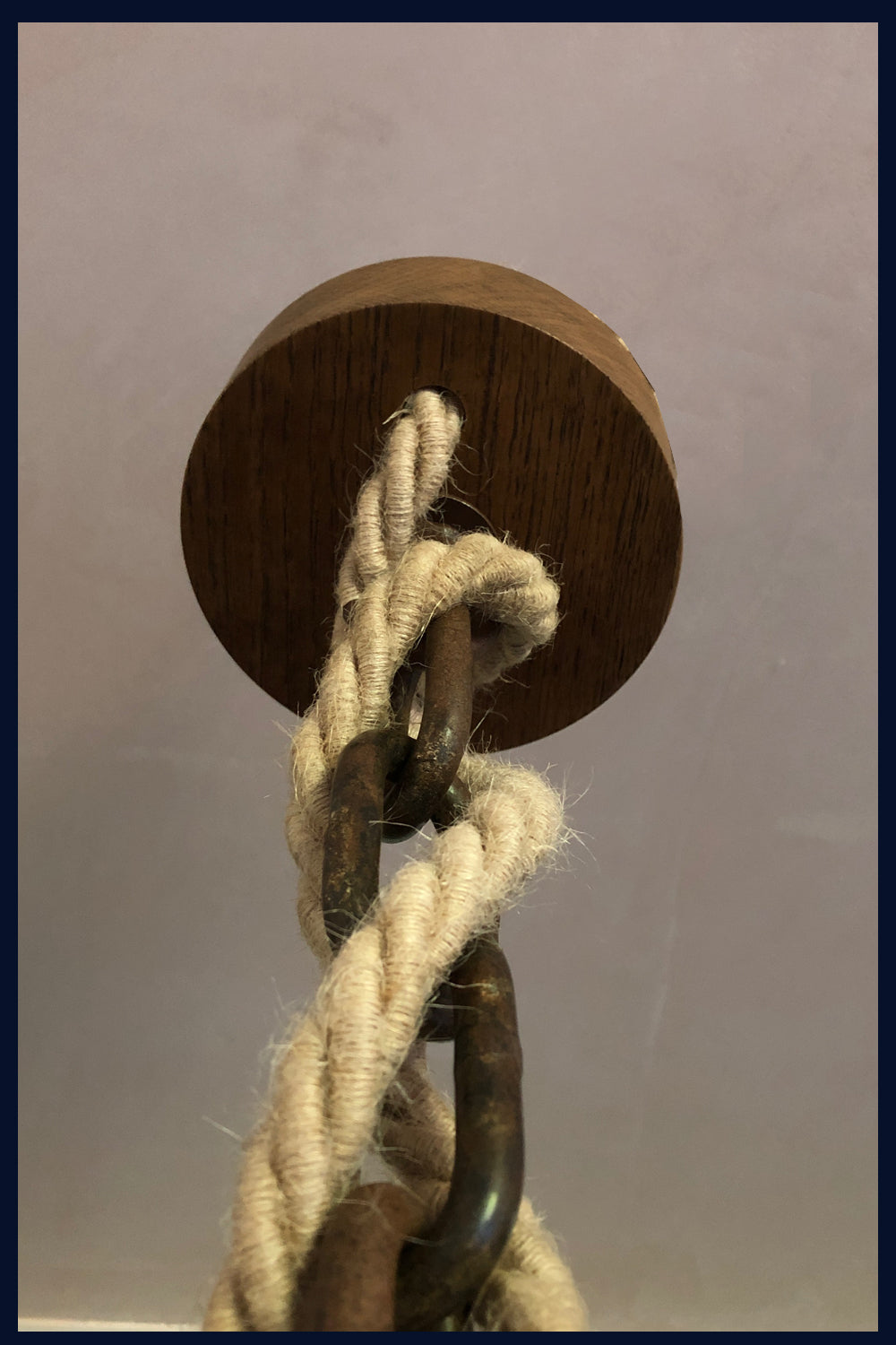 Raw 134  Very Old, Large Wooden Block & Tackle Pulley with Chain Double Pendant Light