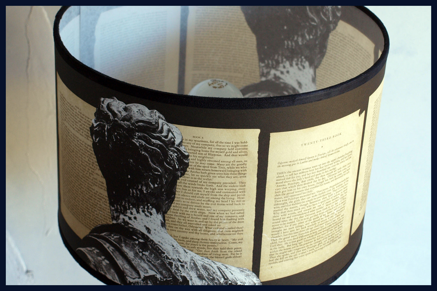Odyssey - Limited Edition Lampshades Featuring Marble Statues & Pages of Homer's Odyssey