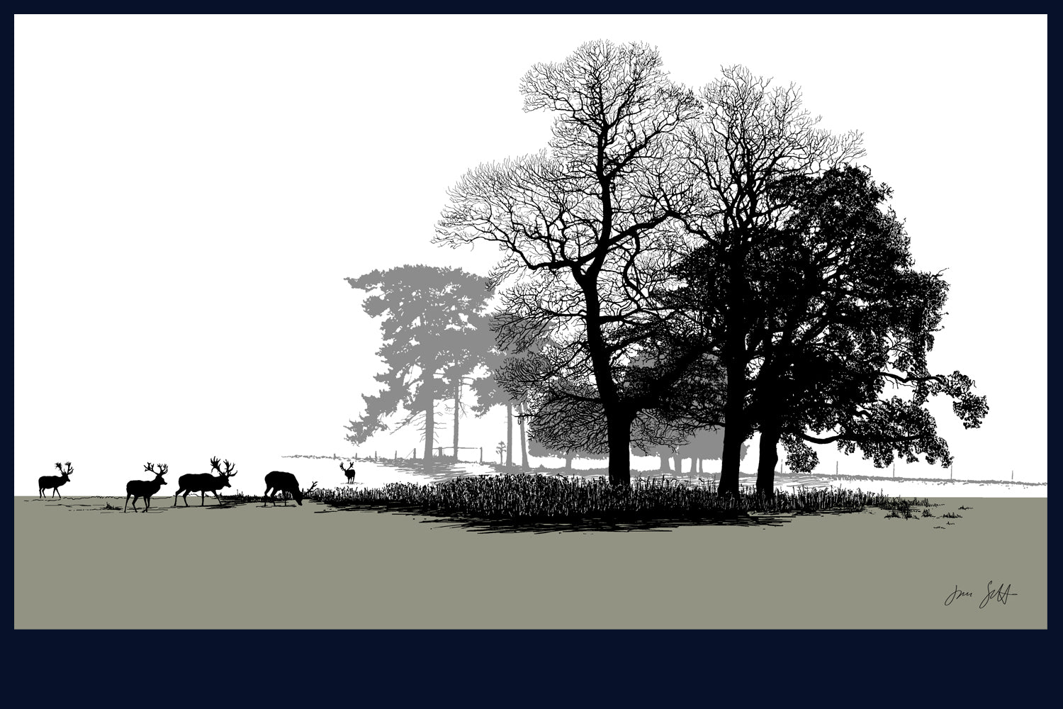 Deer at Holkham, Norfolk. Landsong Collection Fine Art Print - available in 9 colours