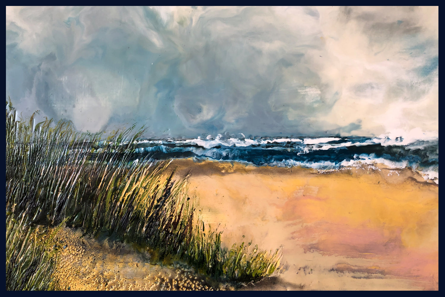 Linear Lands Collection: First Sight, Holkham, Norfolk. Original Oil & Wax Painting