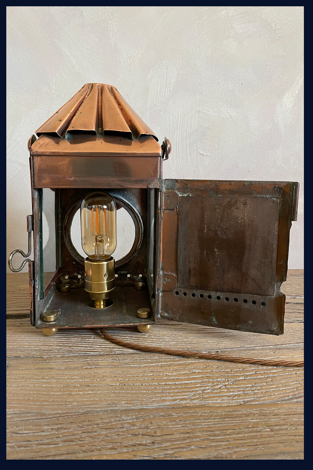 U Collection: Large & Rare Victorian Oil Lantern Transformed into Table Lamp